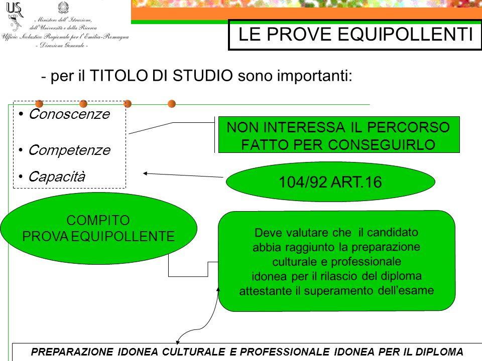 PREPARAZIONE IDONEA CULTURALE E PROFESSIONALE IDONEA PER IL DIPLOMA