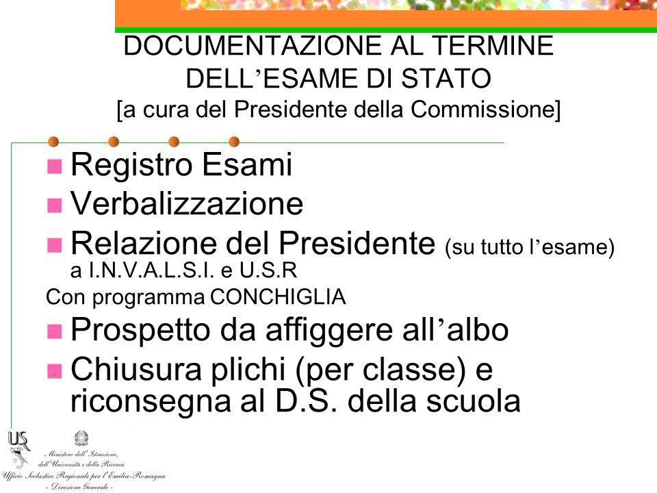 Relazione del Presidente (su tutto l'esame) a I.N.V.A.L.S.I. e U.S.R