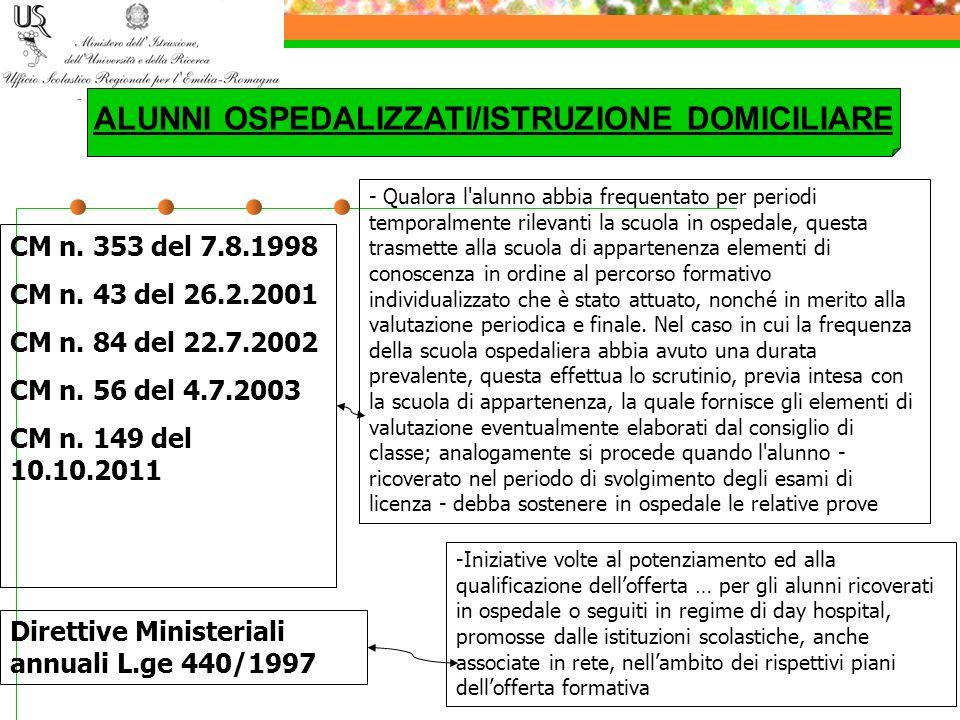 ALUNNI OSPEDALIZZATI/ISTRUZIONE DOMICILIARE
