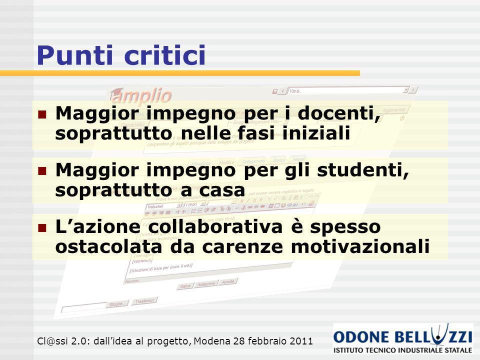 Punti critici Maggior impegno per i docenti, soprattutto nelle fasi iniziali. Maggior impegno per gli studenti, soprattutto a casa.