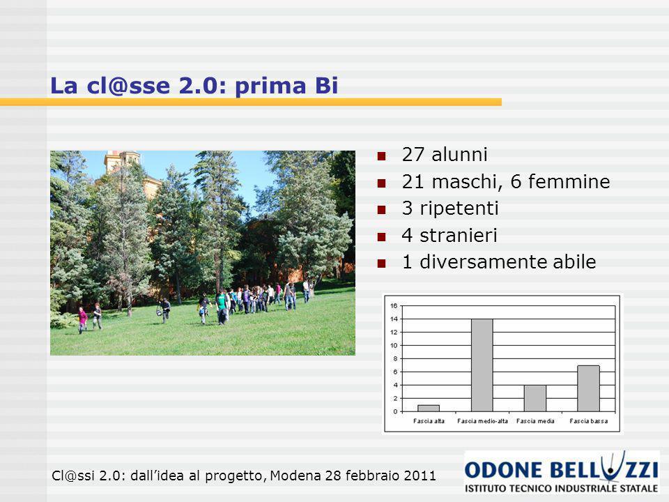 La cl@sse 2.0: prima Bi 27 alunni 21 maschi, 6 femmine 3 ripetenti