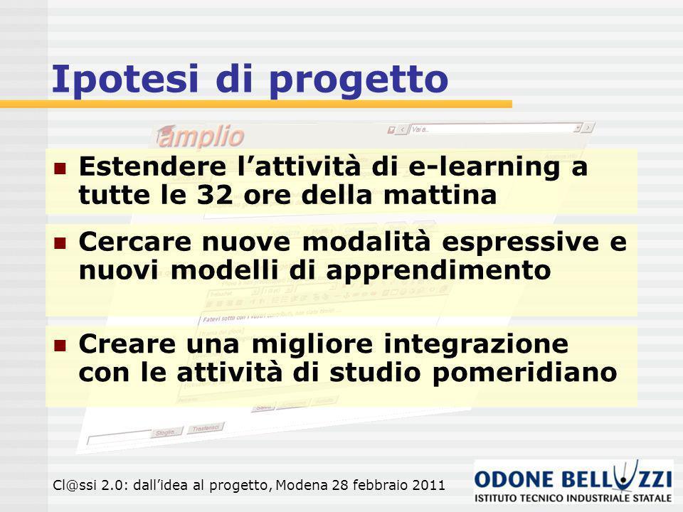 Ipotesi di progetto Estendere l'attività di e-learning a tutte le 32 ore della mattina.