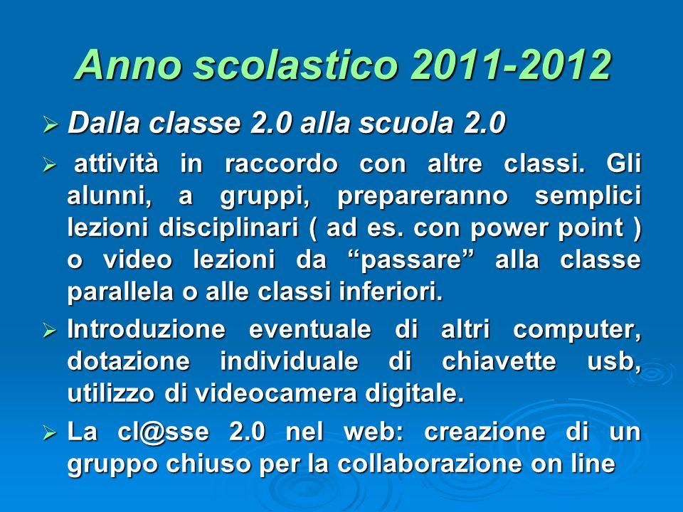 Anno scolastico 2011-2012 Dalla classe 2.0 alla scuola 2.0