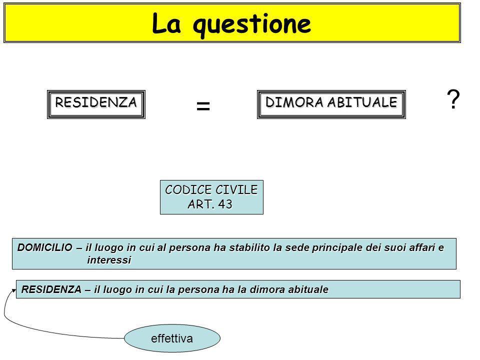 La questione = RESIDENZA DIMORA ABITUALE CODICE CIVILE ART. 43