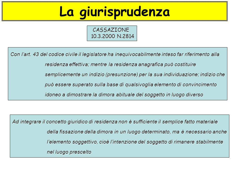 La giurisprudenza CASSAZIONE 10.3.2000 N.2814