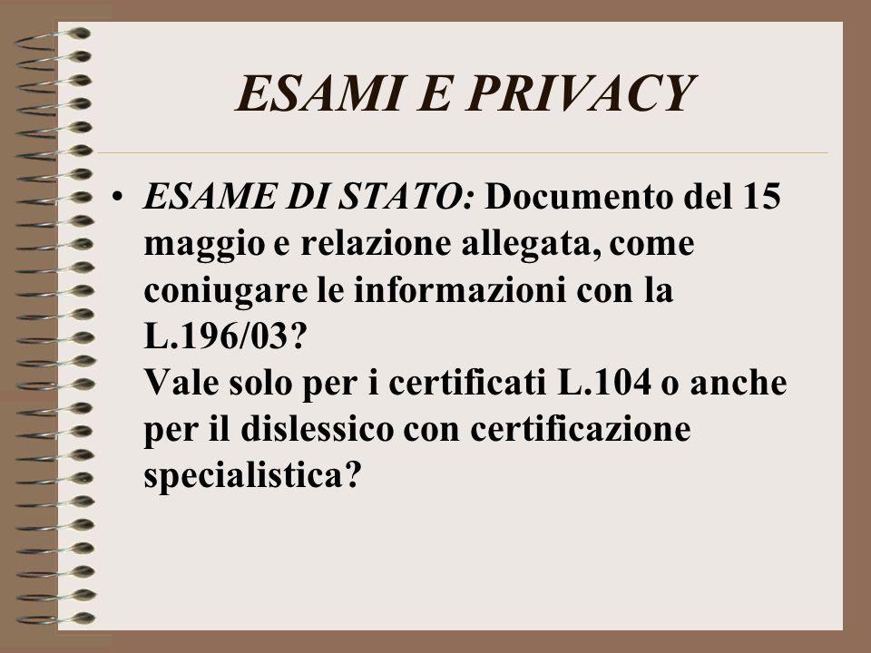 ESAMI E PRIVACY