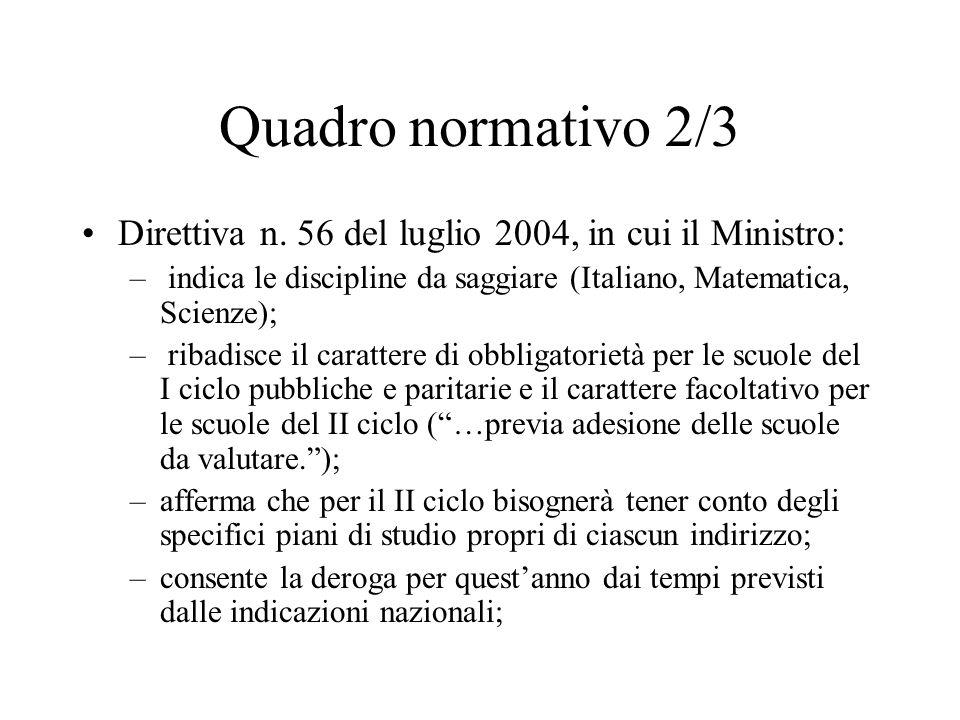 Quadro normativo 2/3 Direttiva n. 56 del luglio 2004, in cui il Ministro: indica le discipline da saggiare (Italiano, Matematica, Scienze);