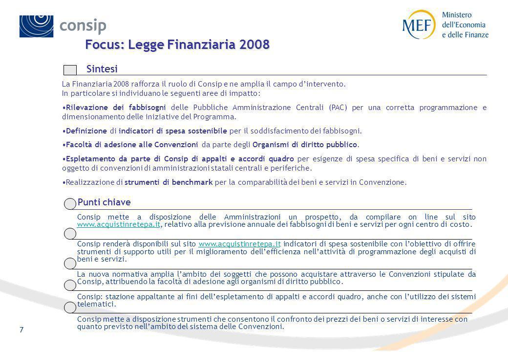 Focus: Legge Finanziaria 2008