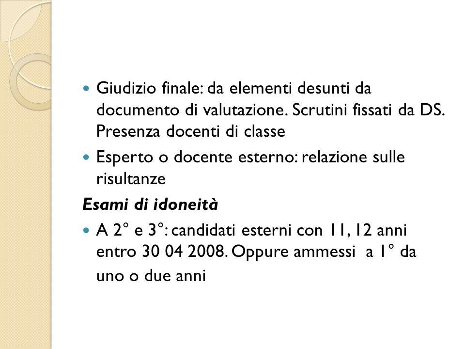 Giudizio finale: da elementi desunti da documento di valutazione