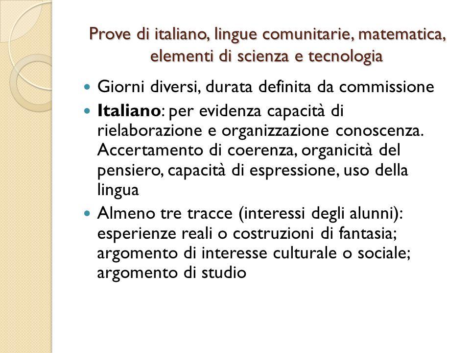 Prove di italiano, lingue comunitarie, matematica, elementi di scienza e tecnologia