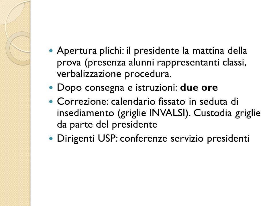 Apertura plichi: il presidente la mattina della prova (presenza alunni rappresentanti classi, verbalizzazione procedura.