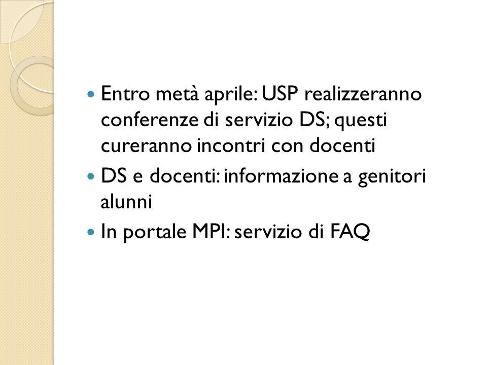 Entro metà aprile: USP realizzeranno conferenze di servizio DS; questi cureranno incontri con docenti