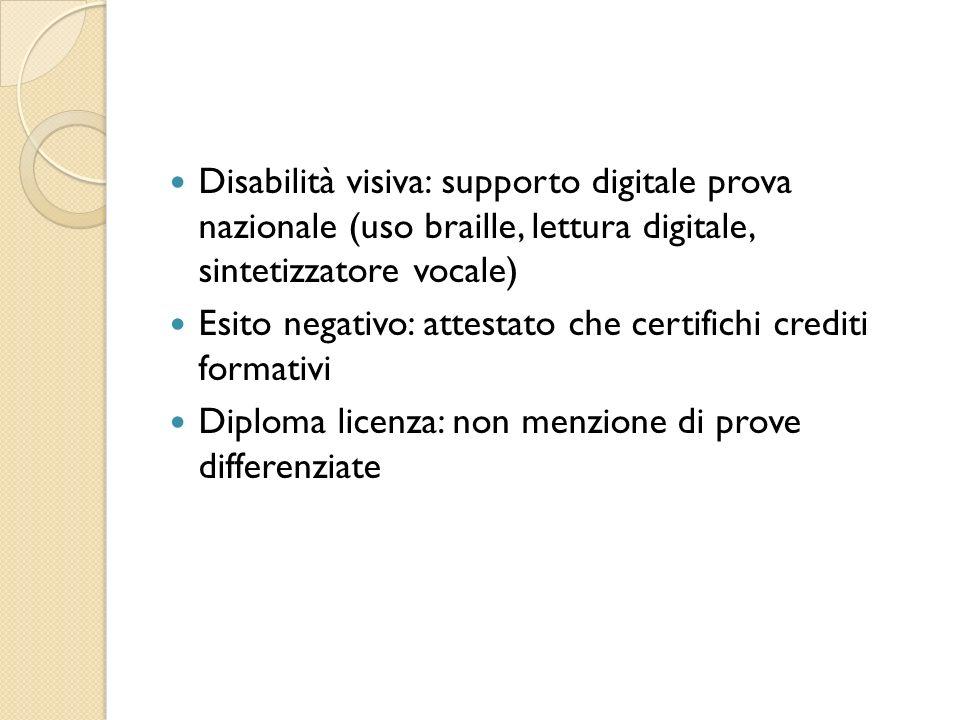 Disabilità visiva: supporto digitale prova nazionale (uso braille, lettura digitale, sintetizzatore vocale)