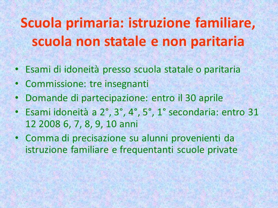 Scuola primaria: istruzione familiare, scuola non statale e non paritaria