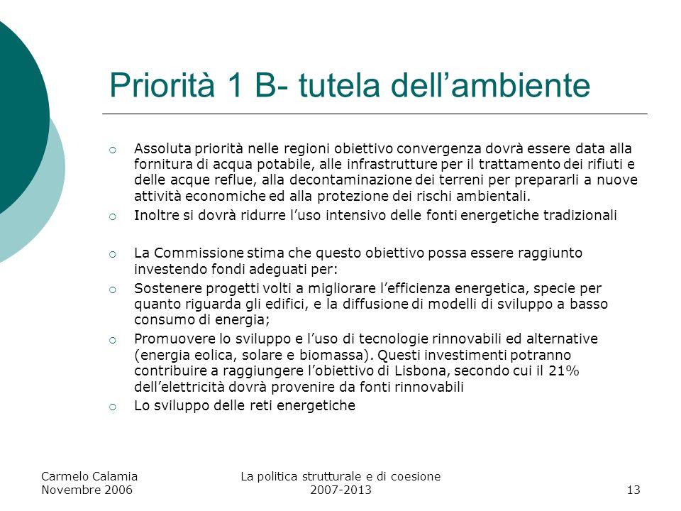 Priorità 1 B- tutela dell'ambiente