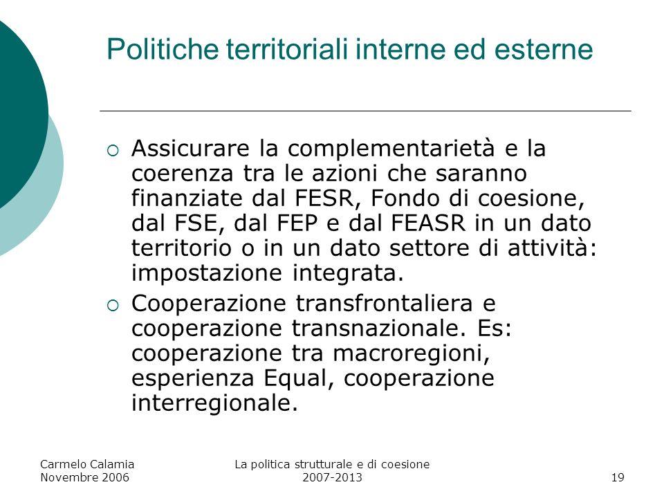 Politiche territoriali interne ed esterne