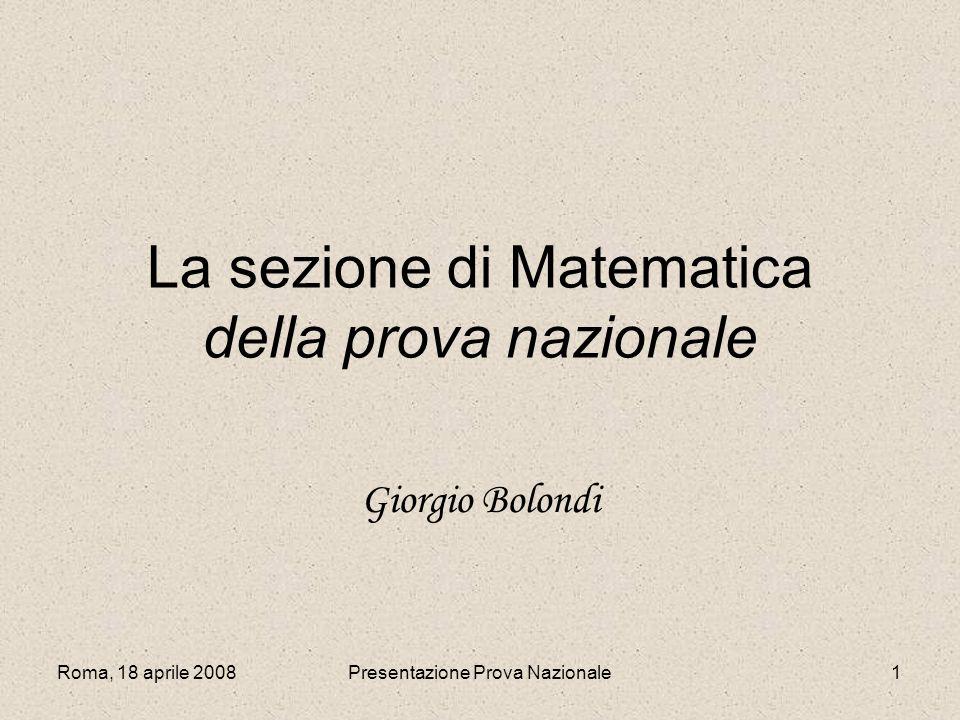 La sezione di Matematica della prova nazionale