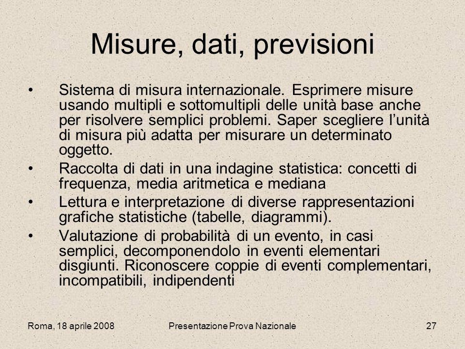 Misure, dati, previsioni
