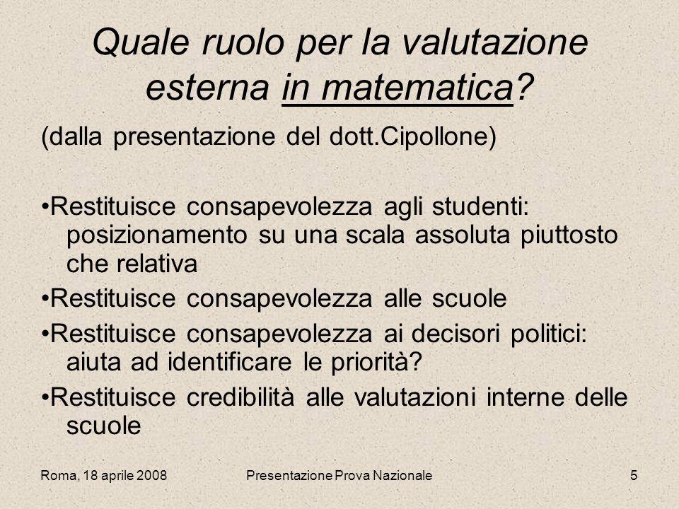 Quale ruolo per la valutazione esterna in matematica