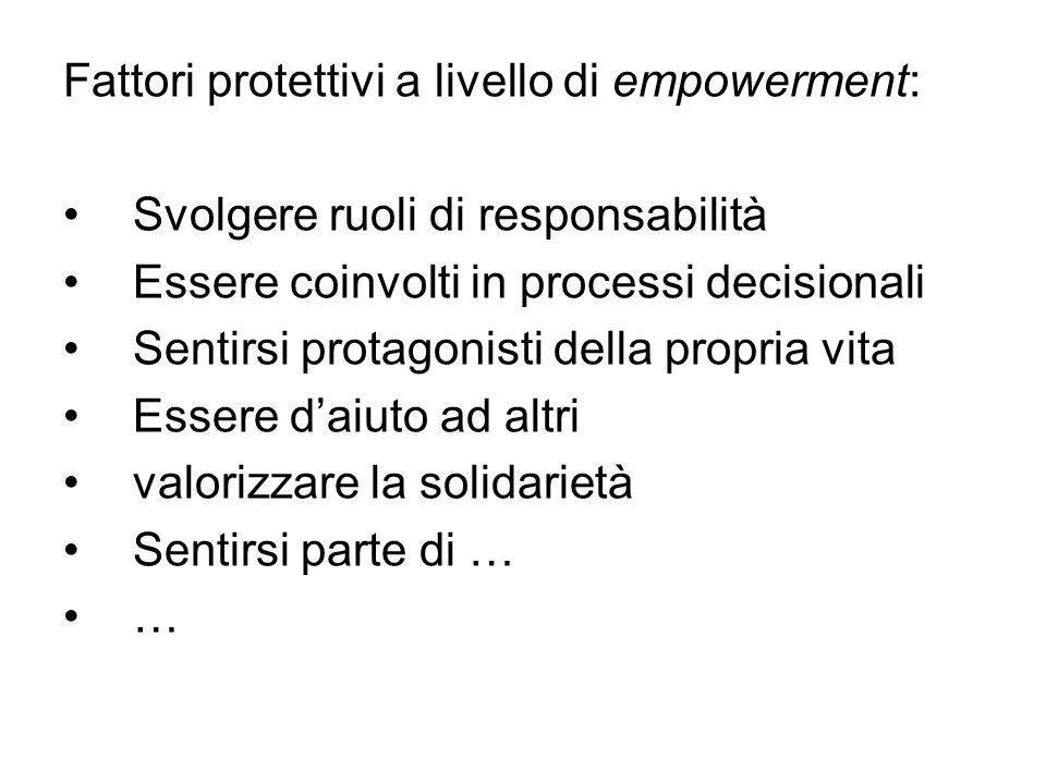Fattori protettivi a livello di empowerment:
