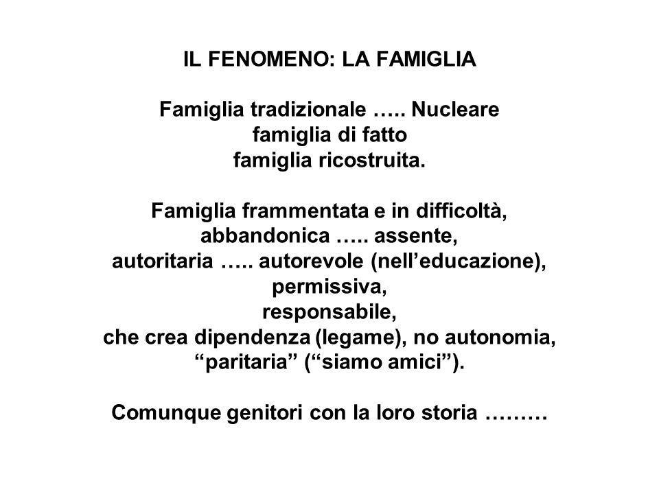 IL FENOMENO: LA FAMIGLIA Famiglia tradizionale …