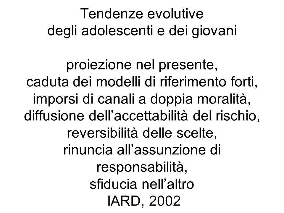 Tendenze evolutive degli adolescenti e dei giovani proiezione nel presente, caduta dei modelli di riferimento forti, imporsi di canali a doppia moralità, diffusione dell'accettabilità del rischio, reversibilità delle scelte, rinuncia all'assunzione di responsabilità, sfiducia nell'altro IARD, 2002