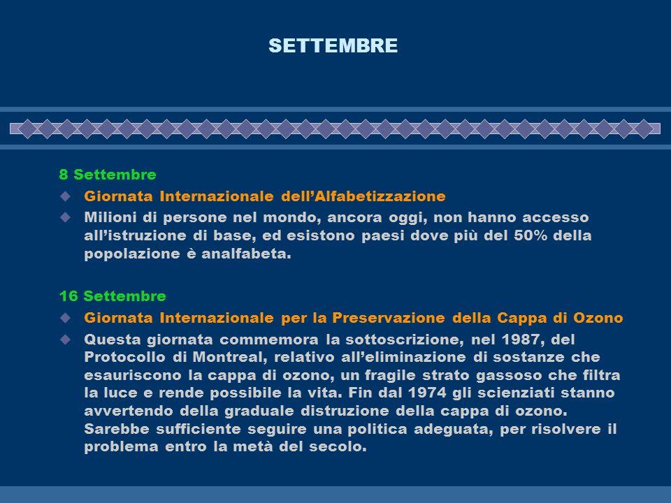 SETTEMBRE 8 Settembre Giornata Internazionale dell'Alfabetizzazione