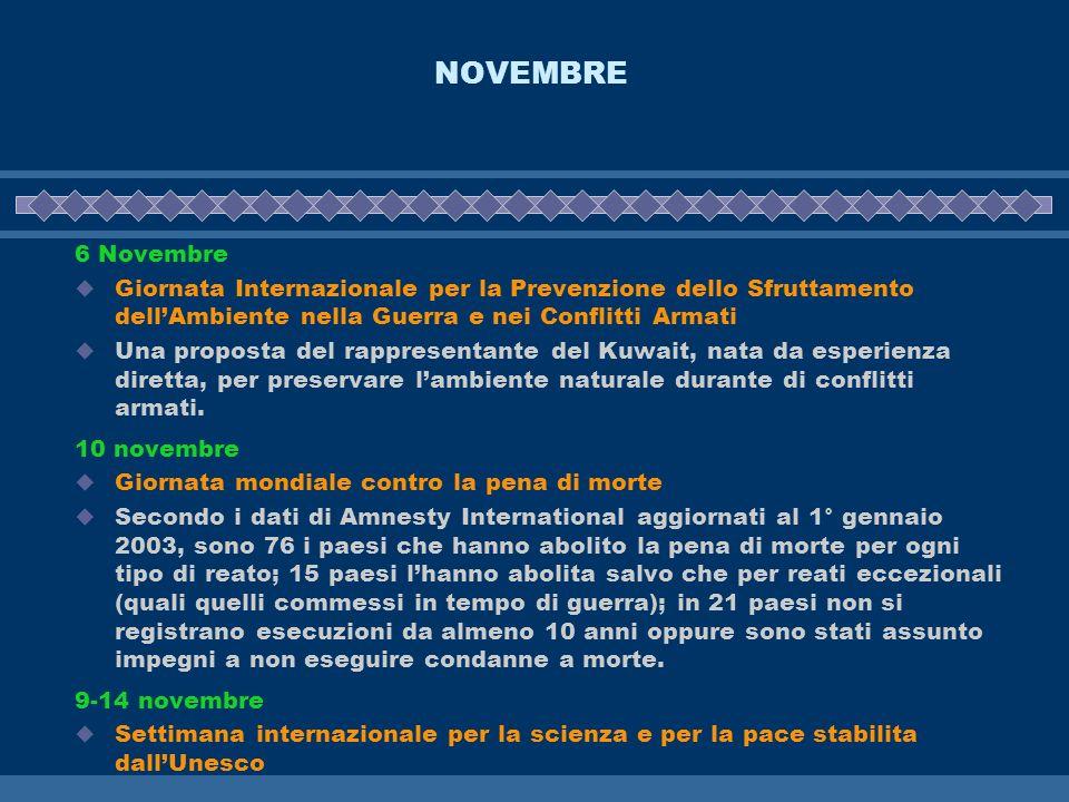 NOVEMBRE 6 Novembre. Giornata Internazionale per la Prevenzione dello Sfruttamento dell'Ambiente nella Guerra e nei Conflitti Armati.