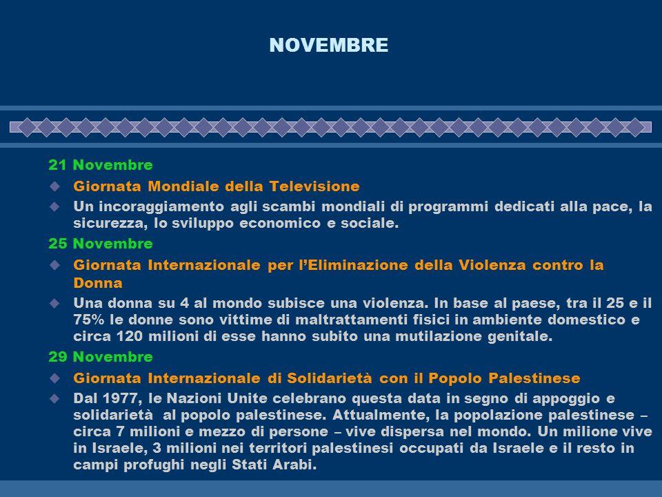 NOVEMBRE 21 Novembre Giornata Mondiale della Televisione 25 Novembre