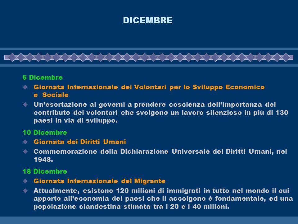 DICEMBRE 5 Dicembre. Giornata Internazionale dei Volontari per lo Sviluppo Economico e Sociale.