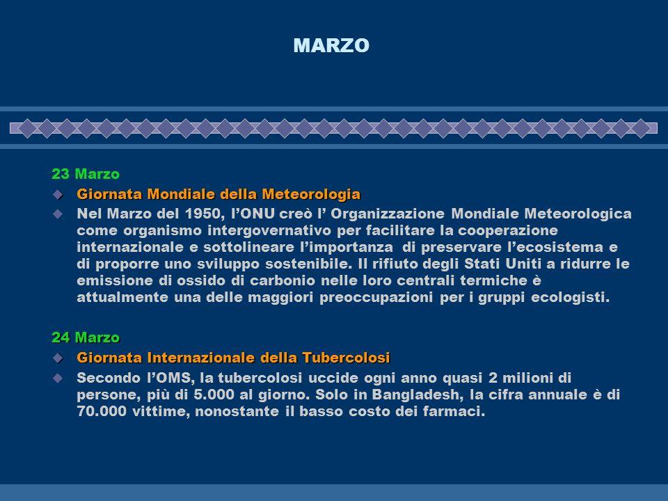 MARZO 23 Marzo Giornata Mondiale della Meteorologia