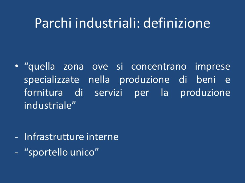 Parchi industriali: definizione