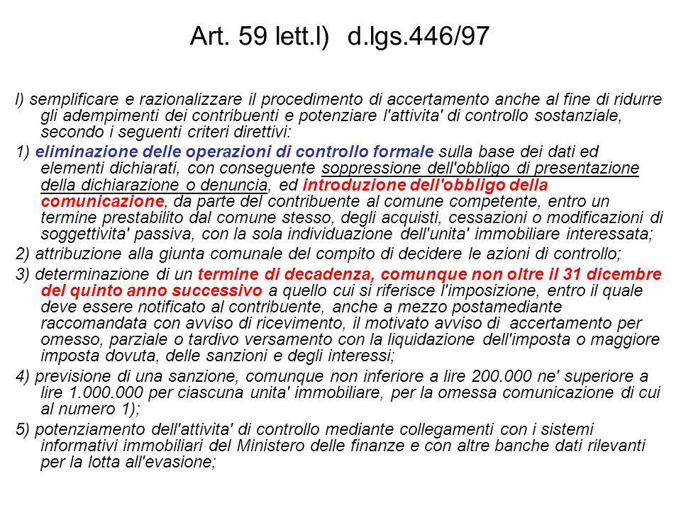 Art. 59 lett.l) d.lgs.446/97