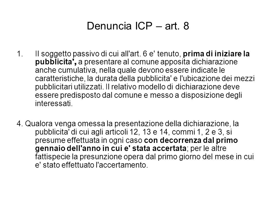 Denuncia ICP – art. 8
