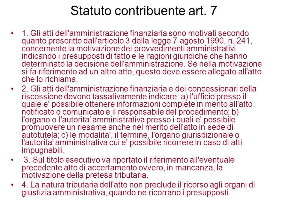 Statuto contribuente art. 7