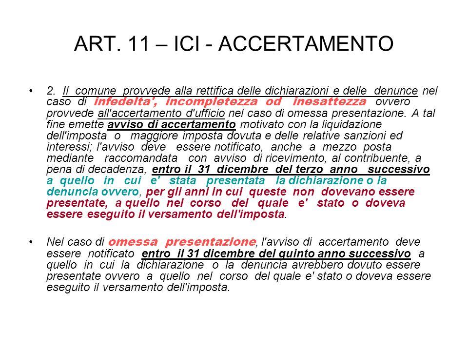 ART. 11 – ICI - ACCERTAMENTO