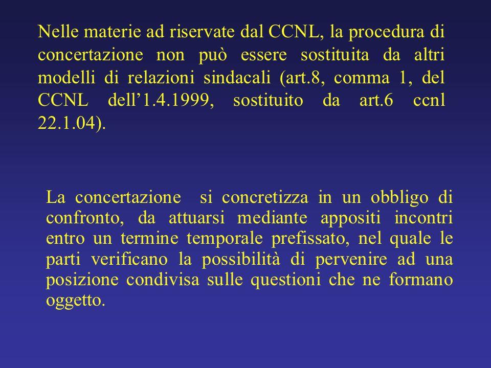 Nelle materie ad riservate dal CCNL, la procedura di concertazione non può essere sostituita da altri modelli di relazioni sindacali (art.8, comma 1, del CCNL dell'1.4.1999, sostituito da art.6 ccnl 22.1.04).