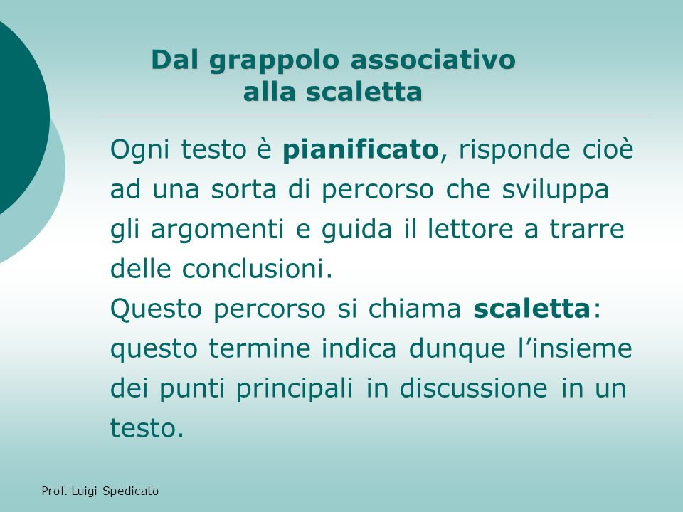 Dal grappolo associativo alla scaletta