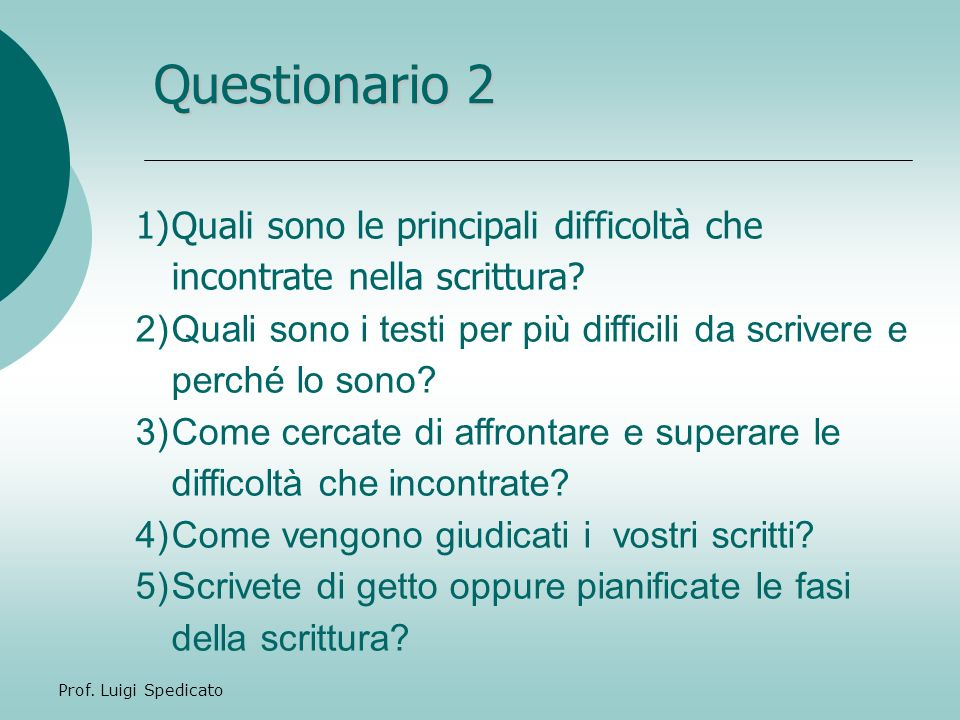 Questionario 2 Quali sono le principali difficoltà che incontrate nella scrittura