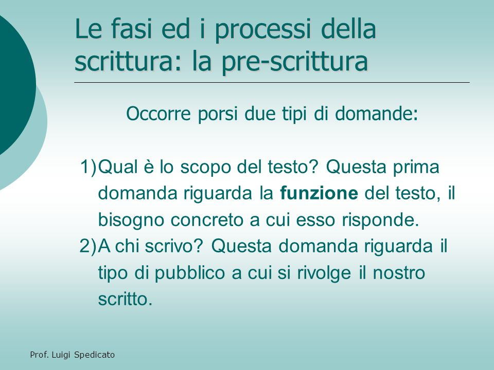 Le fasi ed i processi della scrittura: la pre-scrittura
