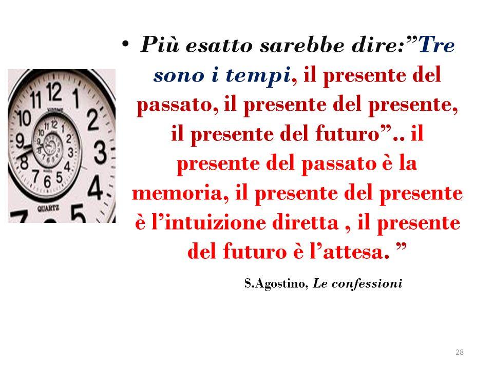 Più esatto sarebbe dire: Tre sono i tempi, il presente del passato, il presente del presente, il presente del futuro .. il presente del passato è la memoria, il presente del presente è l'intuizione diretta , il presente del futuro è l'attesa.