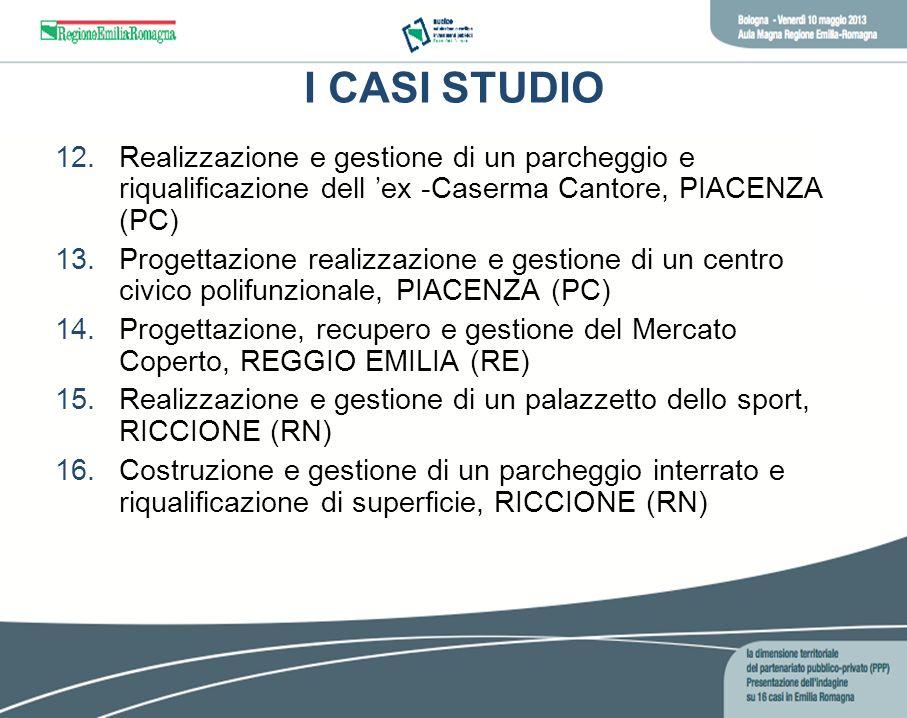 I CASI STUDIORealizzazione e gestione di un parcheggio e riqualificazione dell 'ex -Caserma Cantore, PIACENZA (PC)