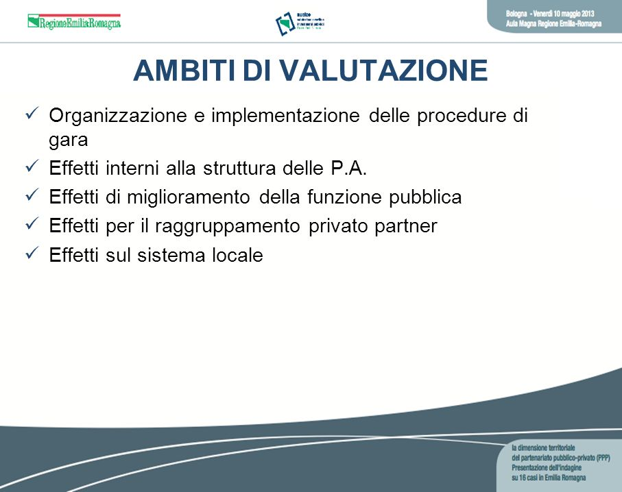 AMBITI DI VALUTAZIONE Organizzazione e implementazione delle procedure di gara. Effetti interni alla struttura delle P.A.