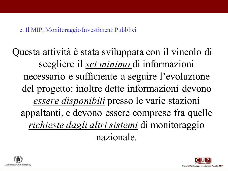 c. Il MIP, Monitoraggio Investimenti Pubblici