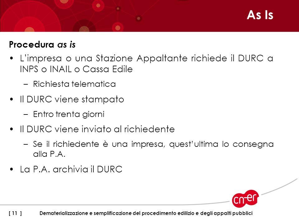As IsProcedura as is. L'impresa o una Stazione Appaltante richiede il DURC a INPS o INAIL o Cassa Edile.