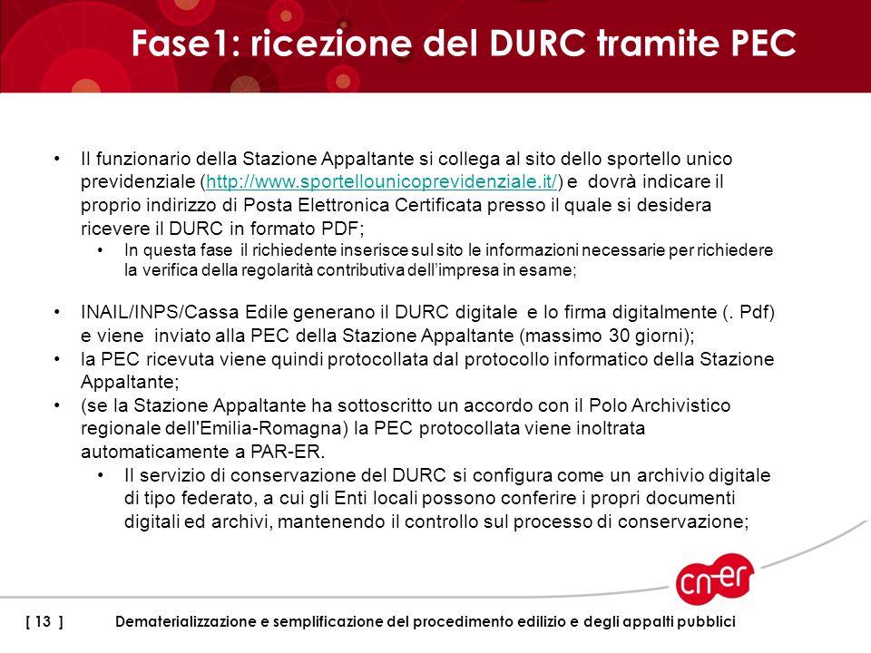 Fase1: ricezione del DURC tramite PEC