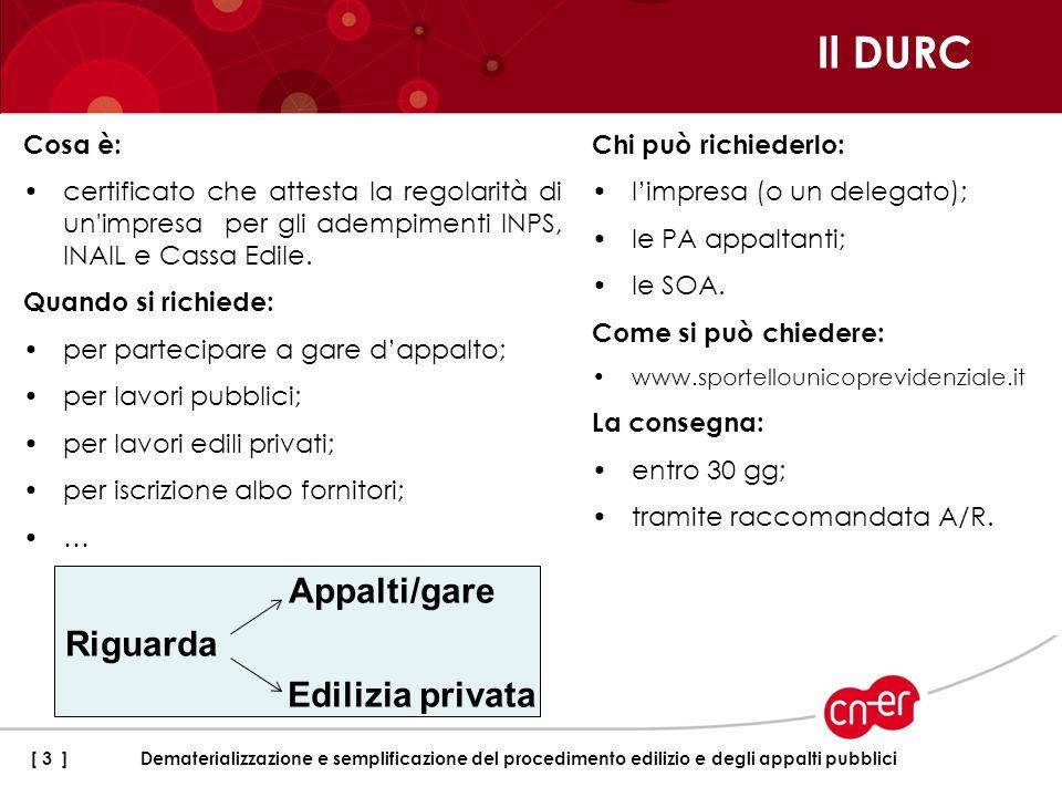 Il DURC Appalti/gare Riguarda Edilizia privata Cosa è: