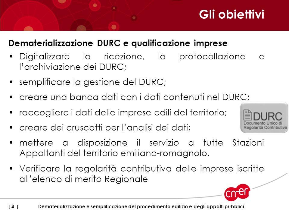 Gli obiettivi Dematerializzazione DURC e qualificazione imprese