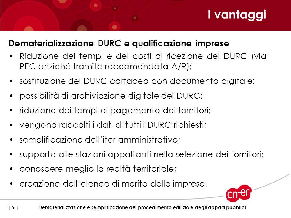 I vantaggi Dematerializzazione DURC e qualificazione imprese