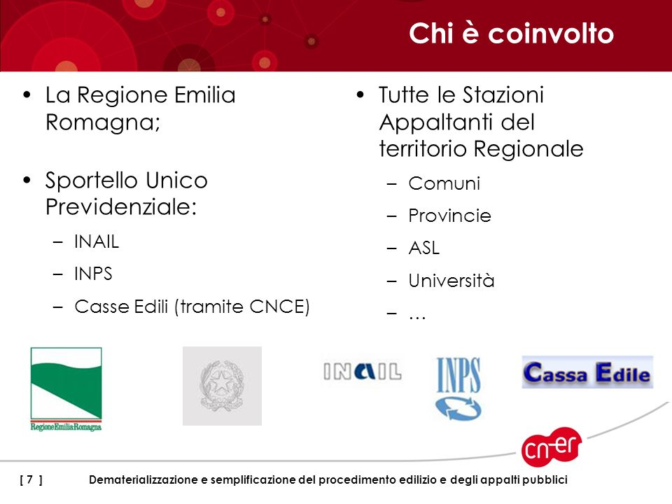 Chi è coinvolto La Regione Emilia Romagna;